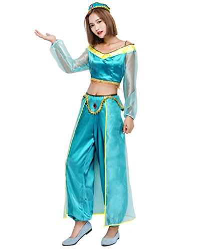 SIDNOR Halloween Aladdin Princess Jasmine India Belly Dance Arabian Exotic Fancy Dress Blue Cosplay -