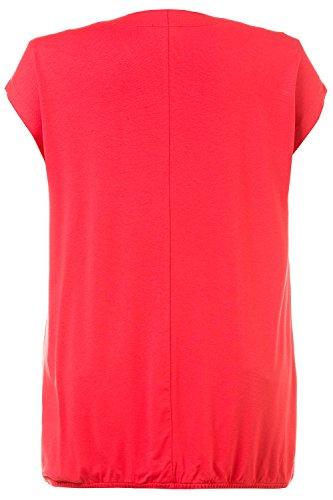 GINA_LAURA Damen | T-Shirt in elegantem Jersey-Stretch | V-Ausschnitt mit Wickel-Optik | Kurzarm, Regular-Fit | Bis Größe XXXL | koralle 3XL 710173 59-3XL