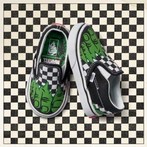 brand new good looking newest style of Vans Classic Slip-On (Marvel) Hulk/Checkerboard VN000EX8U44 Toddler Size 7