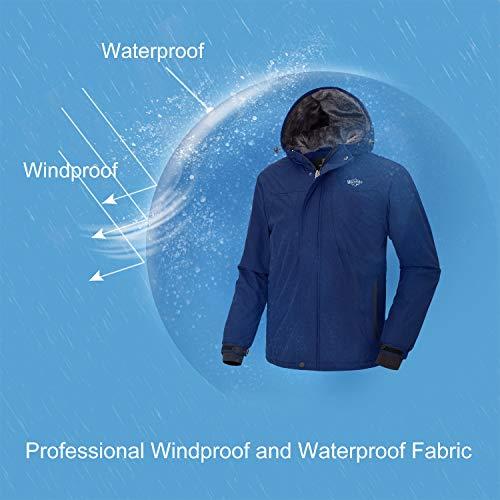 Wantdo Men s Hooded Waterproof Fleece Ski Jacket Windproof Thicken Parka  Quilted Winter Coat Windbreaker 0f09106c8