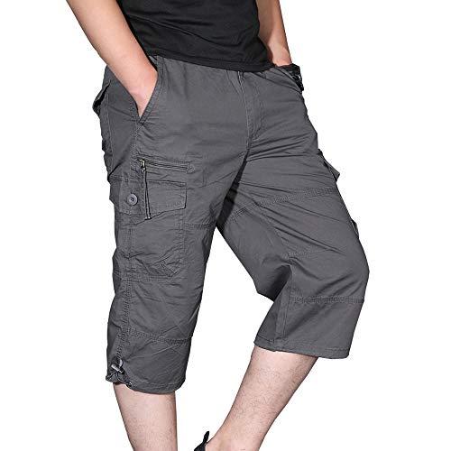 Ivnfout Men's 3/4 Shorts Casual Twill Elastic Cargo Shorts Below Knee Loose Fit Multi-Pockrt Capri Long Shorts