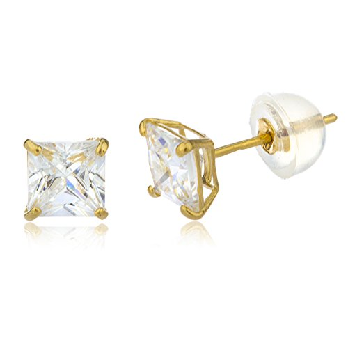 14k Yellow Gold Square Basket Setting Cz Stud Earrings with Silicone Back - 3.
