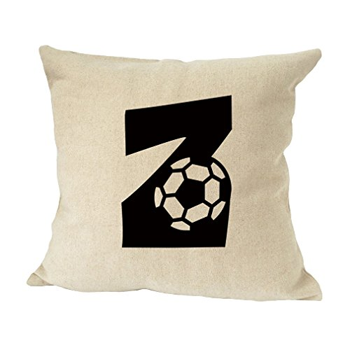 ''Z'' Soccer Initial Monogram Letter Z Bed Home Decor Faux Linen Pillow Cover by Style in Print
