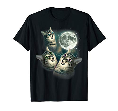 Three Wolf - Three Cat Moon - Funny Three Wolves Kitten Parody Tee Shirt