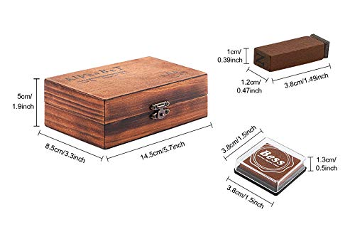 Sonline Pack of 70pcs Rubber Stamps Set Vintage Wooden Box Case Alphabet Letters Number Craft No Ink Pad Included