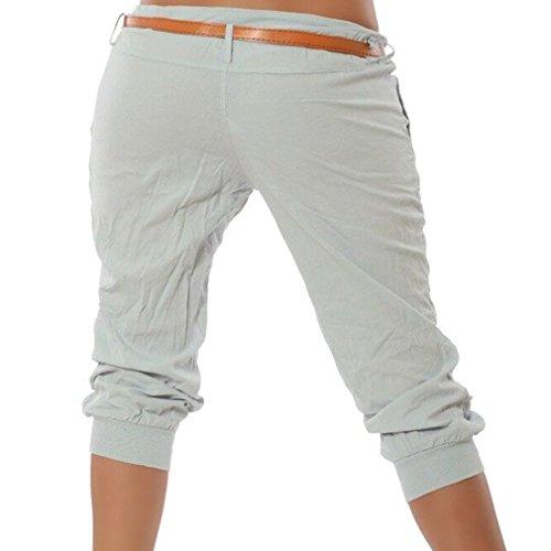 Tasca Stretch Estate ORANDESIGNE 3 Harem da Pantalone Pantaloni Donna Grigio Pantalone Capri 4 Pantaloncini Corti Pantalone TWWqxwnSH