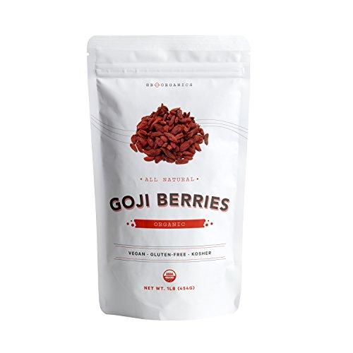SB ORGANICS Premium Juicy Large Organic Goji Berries - Nutrient Packed Top Grade Lycium Barbarum - 1 - Organic Dried Berries Goji