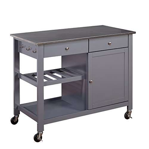 Target Marketing Systems Columbus Kitchen Cart with Stainless Steel Top