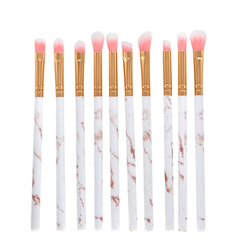 DICPOLIA Beauty Makeup Brushes 10 Pieces Makeup Brush Set Premium Face Eyeliner Blush Contour Foundation Cosmetic Brushes for Powder Liquid Cream (White)