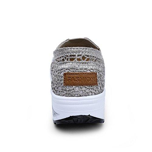 Tulle Trou Creepers Femmes Chaussures Été Rond Légères Printemps Chaussures Marche Automne Talon de Chaussures Forme Coin Plate Chaussures A Semelles Creepers Bout Athlétique 85rq5npx