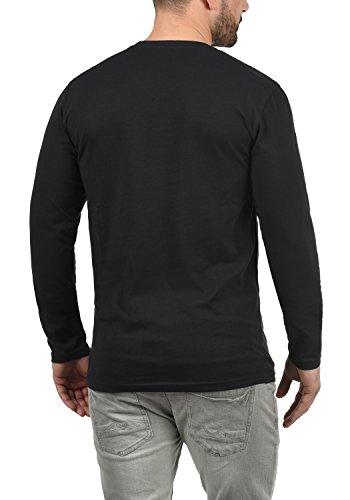 Herren Ausschnitt9000 V T Solide Langarm schwarzem Beda Shirt mit nm8OvN0w