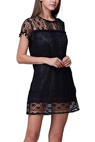 Voinnia Women's O Neck Crochet Hollow Lace Mini T-shirt Dress price tips cheap