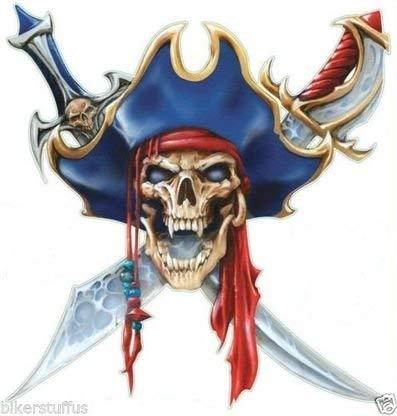 MFX Design Skull Pirate Bumper Sticker Decal Helmet Sticker Decal Toolbox Sticker Decal Vinyl - Made in USA 3.5 in. x 3.5 in.]()