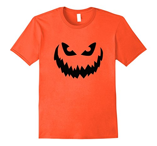 Mens Jack O Lantern Scary Pumpkin Face Halloween Costume T Shirt  XL Orange
