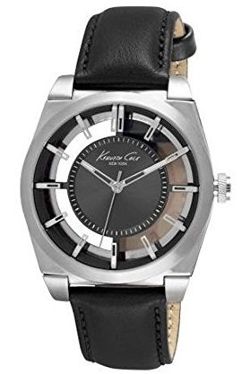 Kenneth Cole New York Men's 'Transparency' Quartz Stainless Steel and Leather Dress Watch, Color:Black (Model: 10027837)