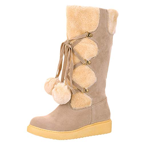 Mysky Women Retro Rome Warm Middle Tube Snow Boots Ladies Casual Hairball Lace-up Suede Boots Shoes Beige