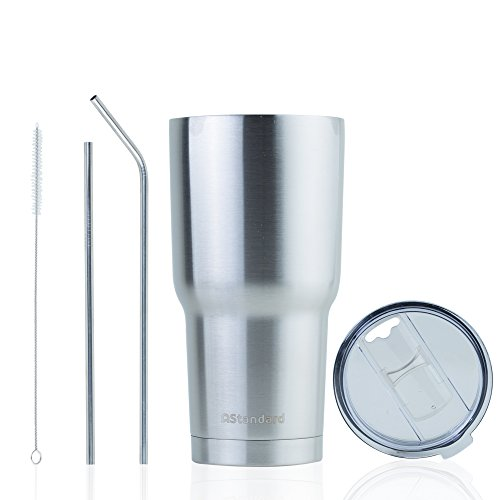 NEW Stainless Steel 30 oz Coffee Tumbler with Sliding Lid, 2 Straws & Cleaner by AStandard
