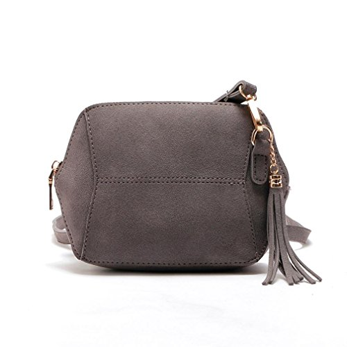 4cm Purses Accessories Retro Gray Sanding Suede Shoulder 21 Tassels HCFKJ Bag Stylish with Female Zipper Handbag Compact 17 Wallet Women Messenger q1FnEHaP