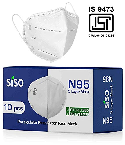 Siso N95 5 Layer Face Mask FFP2 (Pack of 10) – ISI Mark/BIS Certified