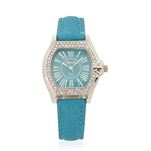 tal Japanese Movement Watch with Teal Band and Stainless Steel Back TGW 0.001 ct (Womens Austrian Crystal Watch)
