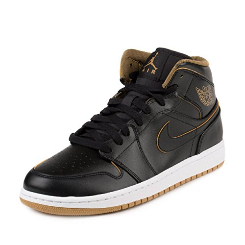 Nike Men's Air Jordan 1 Mid Black/Metallic Gold/White Basketball Shoe - 10.5 D(M) US