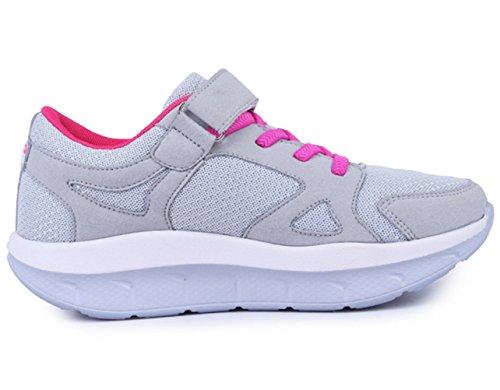 strap DADAWEN Platform Lightweight Tennis Shoes Wedges Gray Walking Sneakers Women's Fitness Comfortable Casual 5rq57