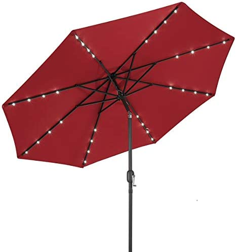 AECOJOY 9FT Patio Umbrella 32 Solar LED Lights Easy Tilt