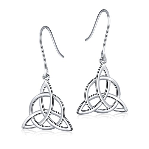 925 Sterling Silver Good Luck Irish Celtic Knot Triangle Vintage Dangle Earrings (Gold Ring Knot Claddagh)
