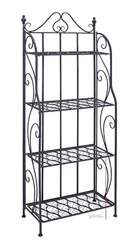 Baker's Rack with 4 Tiered Design Made of Iron in Black Color With Beautiful Motives Will Give Your Kitchen Warming and Charming Feeling by eCom Fortune
