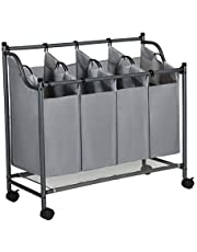 SONGMICS Wasmand op wielen, wassorteermachine met 4 afneembare stoffen zakken, wasverzamelaar, opbergruimte voor speelgoed, stevig, 4 x 35 liter, grijs LSF005GS