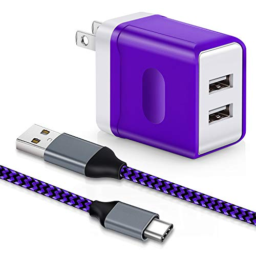 Dual USB Wall Charger, Aupek USB Type C Cable [1 Pack, 10FT] Fast Power Brick Adapter Charging Plug Cube Braided Cable Cord Compatible Samsung Galaxy Note 9/8, S9 Plus, LG Google Pixel, Nexus-Purple