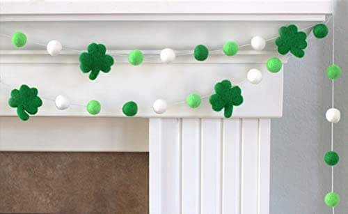 "Shamrock St. Patrick's Day Felt Ball Garland- Green, White- 1"" (2.5 cm) Wool Felt Balls"