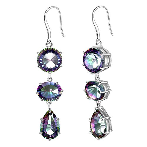 Aurora Tears 925 Sterling Silver Mystic-Topaz Jewelry Women Crystal Gift Girls Dating/Wedding/Anniversary Present Fashion Jewellery (triple stone-clearence, earrings)