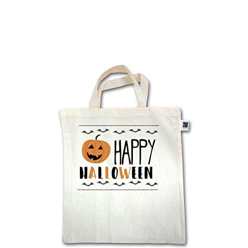 Halloween - Happy Halloween - Unisize - Natural - XT500 - Fairtrade Henkeltasche / Jutebeutel mit kurzen Henkeln aus Bio-Baumwolle