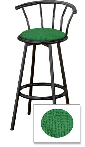 "New 24"" Tall Black Metal Finish Swivel Seat Bar Stools with Green Burlap Seat Cushions!"