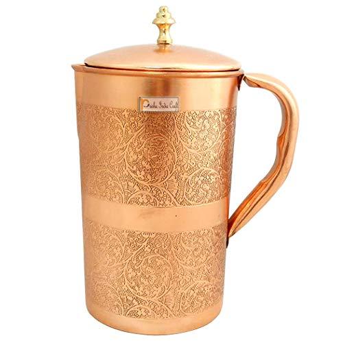 Prisha India Craft Embossed Design Pure Copper Water Jug Pitcher, Drinkware Set, 1500 ML