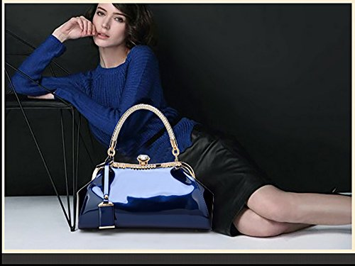 shoulder fashion Messenger female leisure clasped wallet handbag bag leather Blue New lady lacquered patent Tisdaini yt8fqxASKw