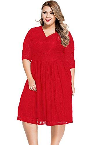 Neuf pour femme Taille plus Rouge Dentelle florale Robe patineuse Soirée Taille plus UK 18–20EU 46–48
