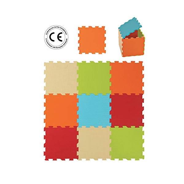 LUDI – Tapis de sol épais pour l'éveil de bébé – 10004 - puzzle géant – dès la naissance – lot de 9 dalles en mousse aux couleurs douces. 1
