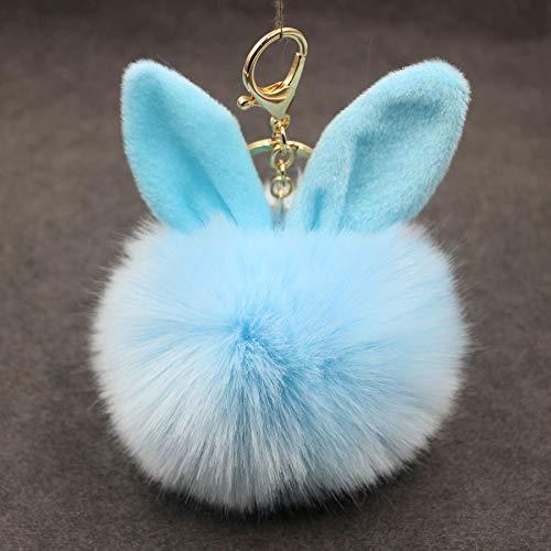 Colored Pompom Balls Fluffy Faux Rabbit Key Chain Holder Artificial Women Car Handbag Keyring