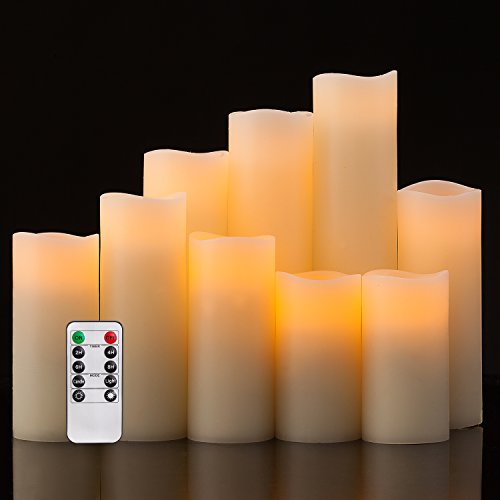 Pandaing Flameless Candles Battery Operated LED Pillar Real Wax Flickering Electric Unscented Candles with Remote Control Cycling 24 Hours Timer, Ivory Color, Set of 9 (Controlled Remote Led Candles)