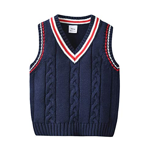 Auro Mesa Kids Sweater School Vest V-Neck Uniforms Cotton Cable-Knit Pullover for Boys/Girls (Navy, 90 -