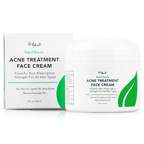 Acne Treatment Cream - Benzoyl Peroxide 5% - (2 oz) Topical Anti Pimple Medication for Cystic Acne Spot Treatment - Tea Tree Oil for Acne with Witch Hazel, Jojoba Oil, ()