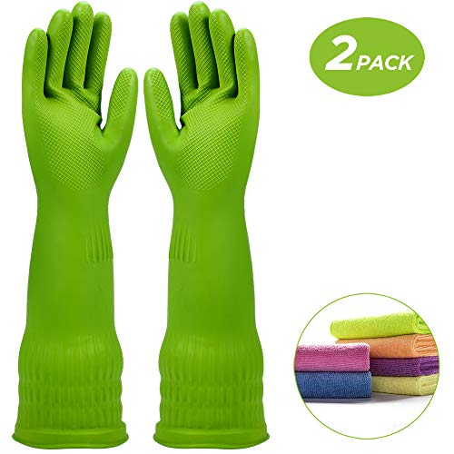 Rubber Dishwashing Glove Kitchen Cleaning Gloves 2-Pairs Get free Cleaning Cloth 2-Pack,Waterproof Reuseable.