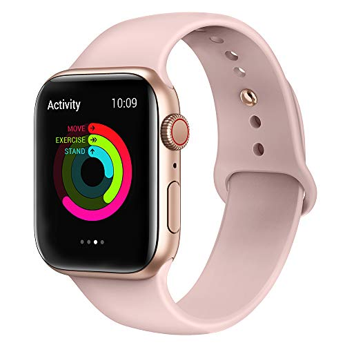 AdMaster Silicone Compatible for Apple Watch Band and Replacement Sport iwatch Accessories Bands Series 4 3 2 1 Pink Sand 38mm/42mm M/L