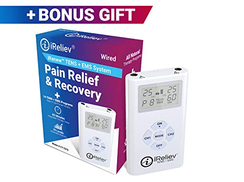 - iReliev TENS + EMS Combination Unit Muscle Stimulator for Pain Relief & Arthritis & Muscle Strength - Treats Tired and Sore Muscles in Your Shoulders, Back, Ab's, Legs, Knee's and More