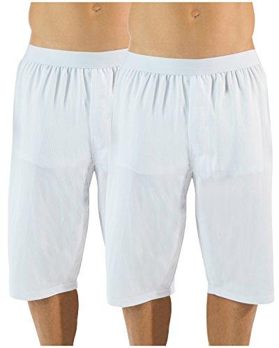 (Casual Nights Men's Mesh Long Boxer Shorts 2 Pack - White - Medium)