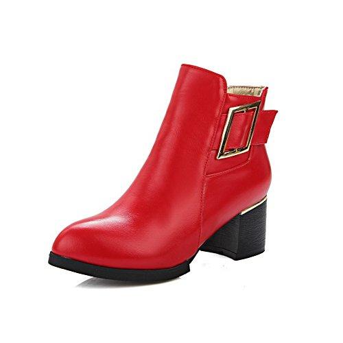 VogueZone009 Damen Rein Blockabsatz Reißverschluss Stiefel mit Metall Schnalle Rot