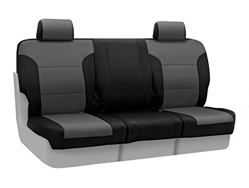 Coverking Custom Fit Front 40/20/40 Seat Cover for Select Chevrolet Silverado 1500 Models - Neoprene (Charcoal with Black Sides)