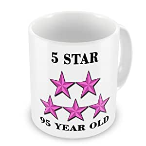 5Star 95años Old taza cumpleaños–rosa